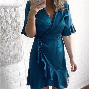 Shine Bright Ruffled Short Sleeve Ruffle Dress